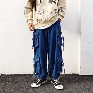 20ss originais Baggy Lanterna Calças Jeans Homens e Mulheres Pockets soltas Casual Grande Leg Denim Calças Streetwear Calças