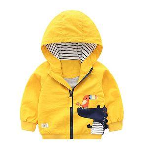 Baby Spring Autumn Jacket Stripe Small Crocodile Cartoon Printed Hooded ZipperJackets Baby Elastic Cuff FashionChildrenOutsideWear WY238 ZWL