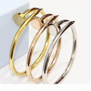 Hotstone88 Free Shipping 2019 hot 100% New 316L Titanium steel brand name nail punk lovers women and man bangle free shipping