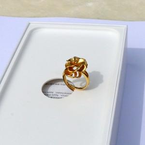 Edler 14-k-Gelb-Feingold-GF Handgefertigter Damen-Rosen-Blumen-Design 2,2 mm Bandring