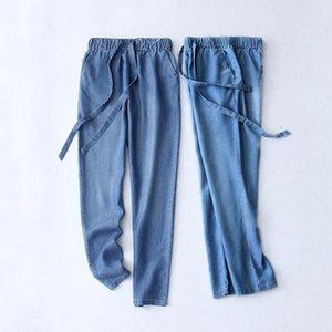 2020 New Summer Slim Denim Pencil Pants Casual Vintage High Waist Womens New Jeans Long pants loose Plus Size 6XL 7XL Maxi Blue
