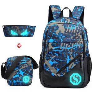 Étanche oxford tissu garçons sacs d'école sac à dos pour les adolescents étui à crayons bleu livre sac garçon une épaule cartable sac à dos
