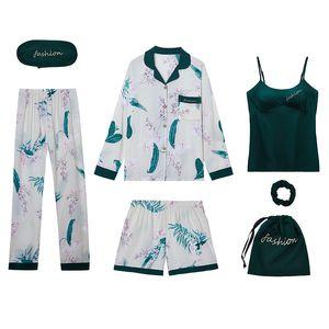 de SIMISI 7pcs Mulheres Pijamas Set Cotton Imprimir Pijamas Vire-down Collar Cardigan manga comprida Define Início Roupa Pijamas Mulheres