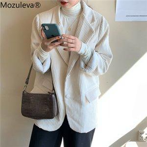 Mozuleva Frühling Corduroy Blazer für Frauen Einreiher Maxi-Female-Blazer-Jacken beiläufige 2020 elegante Anzüge Jacke Femme