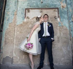 1950s vestidos de casamento de marfim curtos com mais over casaco dois pedaços joelho comprimento organza país jardim praia vestidos de noiva plus tamanho barato 2019