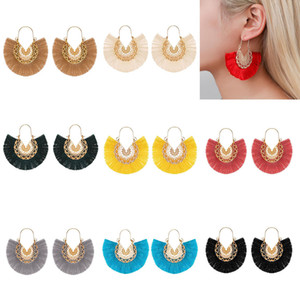 Étnica estilo forma 10colors Fan Tassel Pingente Brincos Dangle oco liga Fringe Eardrop encanto da orelha Hooked Mulheres Brinco Jóias Presentes