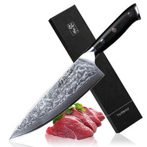Professional Chef faca 8 polegadas Gyutou japonês Damasco aço de alta qualidade Cozinha facas lâmina muito afiada Cozinhar facas Tools