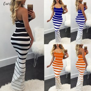2020 New Women Summer Sexy Striped Slim Dress Off Shoulder Casual Bandage Bodycon Pleated Dresses Party Long Maxi Dress Skinny Designer