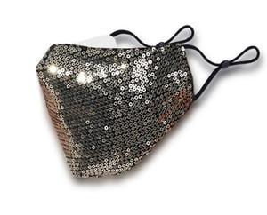 Unisex Cotone coperture protettive viso per Maschera Maschera per adulti Moda Paillette Viso oro partito del vestito operato nero