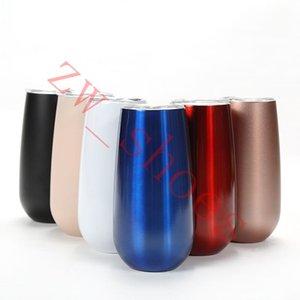 Kapaklar siyah ışık pembe kırmızı 6oz Champagne Flüt Çift yalıtımlı şarap Gözlük Paslanmaz Çelik Tumbler Kupası