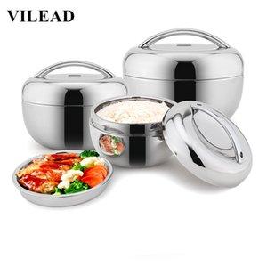 VILEAD Edelstahl Lunchbox für Kinder Nahrungsmittelbehälter Griff Wärme Wärmedämmung Schüssel Tragbare Picknick Bento Box T200111 Halte