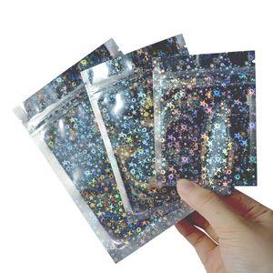 Richiudibile Smell Proof sacchetti di pellicola Pouch borsa piatta mylar borsa per il favore di partito Food Storage olografico a colori con glitter star