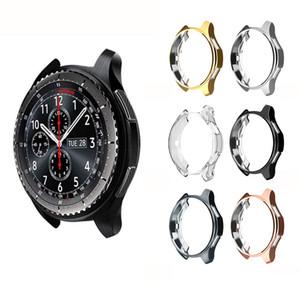 Galvanizada TPU Assista Case Shell Relógio Inteligente Capa Protetora para Samsung Gear S3 42 MM 46 MM Borda Substituição Capa Protetora Quadro