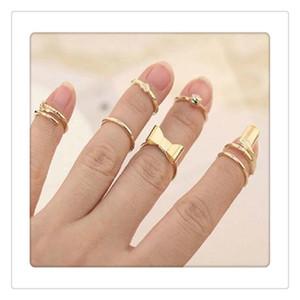 7Pcs Установить палец кольца Vogue Золотой Череп Bowknot сердца дизайн Простой Nail диапазона Mid перстни Set Nail Art Ring