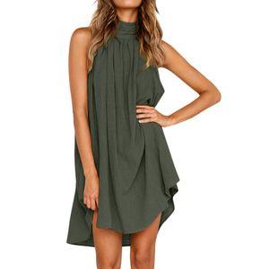 Womens Holiday Irregular Dress Ladies Summer Beach Sleeveless Party Dress vestidos verano fashion trend elastic