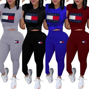 Femmes marque designer 2 pièces ensemble survêtement survêtement col rond manches courtes imprimer lettre t-shirt moulantes leggings pantalons vêtements d'été 623