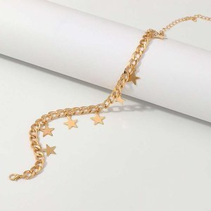 Cuba Hip Hop Golden Silver star Thick Chunky Chain Choker Necklace Jewelry Women Exaggerated Twisted Long Chain Charm Necklace