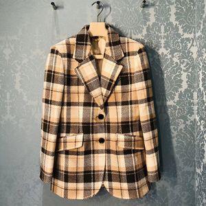 Retro Plaid Women's Blazer Suit 2020 Early Autumn Loose woolen ladies Office jacket coat top With Pockets