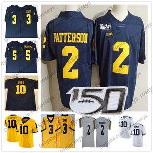 2019 Michigan Wolverines 2. Shea Patterson 10 Dylan McCaffrey Devin Bush 3 Rashan Gary Biberler Brady Woodson Beyaz Lacivert 150TH Forması