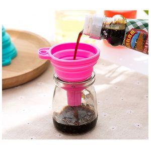 휴대용 오일 꿀 굴뚝 와인 축소 스타일 호퍼 주방 미니 도구를 접는 실리콘 접이식 액체 깔때기
