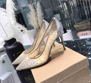 high quality The new Fashion Sexy Women Pumps Peep Toe Crystal Buckle Strap Party Wedding shoes Golden Air Mesh See-through Ankle Strap