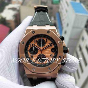 Neue Best Factory 42MM VK Quarzwerk Chronograph Arbeits Rose Gold Lederband Männer Luminous Armbanduhr-Uhr-Männer