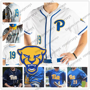 Personalizado Pittsburgh Panthers PITT Baseball 2019 Branco Azul Royal Cinza Qualquer Número Nome 34 TJ Zeuch 1 Nico Popa 3 Sky Duff Jersey