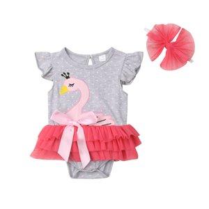 Nouveau-né bébé Fly manches Cartoon Swan Tutu jupette Barboteuses Jumpsuit Tenues d'été Vêtements de mode pour enfants 0-24Months