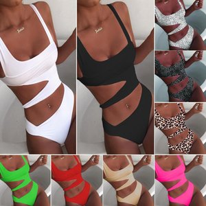 Summer New Women One-piece Sexy Pure Color Bikini Cutout Multicolors European And American Wind Sli Fit Swimsuits