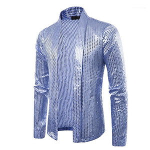 Sweaters Solid Color Fashion Loose Male Tops Cardigan Mens Knits Long Sleeve Lapel Neck Sequins Mens