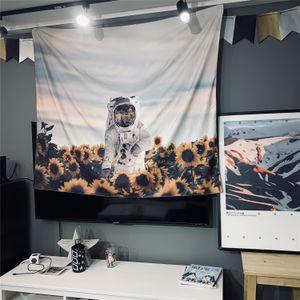 Yatak odası Yaşam için Dış Uzay Goblen Duvar Asma, The Astronaut ayçiçeği Toprak Gezegen Evren Galaxy Ana Sanat Duvar Dekoru Büyük Halılar