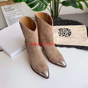 Original Box Isabel Paris Runway Marant Lamsy Ankle Boots aus Leder Frau Designer Schuhe Italien Kalbsleder Metall Toe Stiefel
