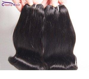 İşlenmemiş Teyze Funmi Saç Bouncy Romance Bukleler Perulu İnsan Saç Uzantıları 3 Paketler Funmi Kısa Bob Stil Weave Smooth