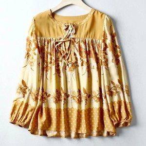 Boho SOLUDU rayon sarı çiçek nakış uzun kollu ilkbahar yaz bluz gömlek gündelik kadınlar Y200622 başında