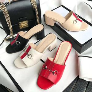 Eté nouvelles femmes de créateurs de mode Plage Lazy talon Moyen flops de luxe de cuir dame moitié métal dames taille 35-42 41