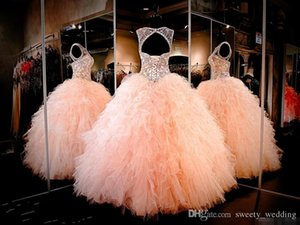 Blush Peach Spark Rhinestone Crystals Quinceanera DressesSweet 16 Ruffle Ruffles Skirt Sexy Sheer Jewel Princess Prom Ball Party Gowns