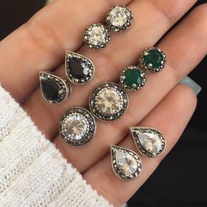 Boho géométrique Petit Stud boucles d'oreilles en alliage de zinc avec pour Femmes Filles Crystal Stone Vert Petit gros bijoux
