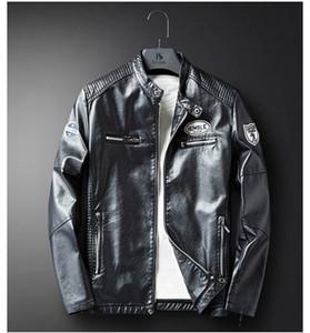 Designer Mens Casacos Primavera Motocicleta PU Magro Impresso Mens Coats Casual Couro manga comprida masculina Casacos