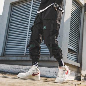 Black Letter Embroidery Streetwear Gothic Cargo Ribbons Joggers Pencil Pants Men's Hip Hop Sweatpants Men Harem Casual Trousers T200706