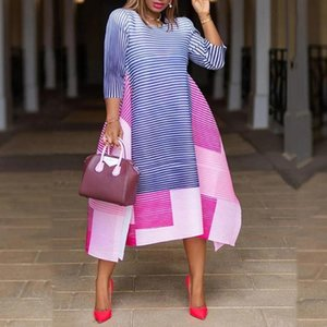 Striped Summer Dress Women Fashion Three-Quarter Sleeve Asymmetrical Women Color Block Midi Plus Size Dresses Party Office Lady