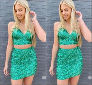 Blingbling Green Sequined Two Pieces Cocktail Dresses with Straps Zipper Back Short Cheap Homecoming Prom Dresses Mini Party Dress
