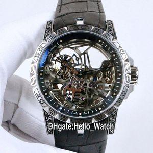 Neue Excalibur 46 10 uhr tourbillon rdbex0479 Automatische Herrenuhr Stahl Vintage Gravur Fall Skeleton Dial Lederband Hello_watch
