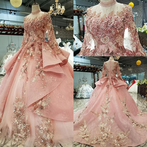 2020 Romantic Pink Muslim Ball Gown Wedding Dresses Vintage High Neck Long Sleeves Lace Applique Princess Bridal Dress