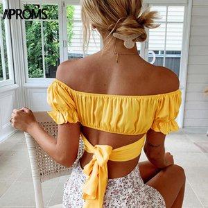 Aproms Sexy Backless Bow Tie Обрезанной Блуза лето женщины рябить с плечом рубашкой Streetwear Желтого Топ для женщин Одежды 2020