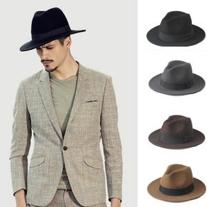 2 Büyük Boy 100% Yün Erkekler Fötr Fedora Şapka Beyefendi Geniş Ağız Üst Cloche Panama Sombrero Kap Boyutu Için 56-58, boyutu 59-61 cm Y19070503
