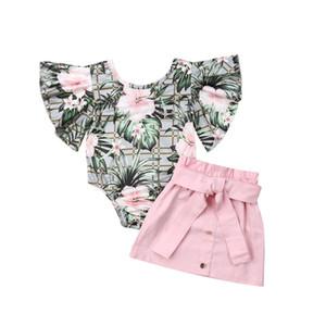 Baby-Kleidung gesetzte Art und Weise für Kinder Baby-Outfits für Kinder-Kleidung 2Pcs Blumenaufflackern Hülsen-Spielanzug Tops Bleistift-Rock-Sommer-Sets 1-4Y