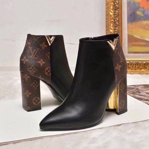Disponible En las mujeres del alto tamaño de diseño de oro V tacones diseñador de las mujeres botas de cuero botas de tobillo de los talones impresión de la letra más los zapatos con la caja