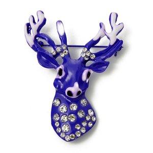 Mode Beliebte Blue Deer Head Strass Brosche Kleidung Brosche Schmuck Zubehör Gut Aussehenden Stil Modeschmuck Großhandel