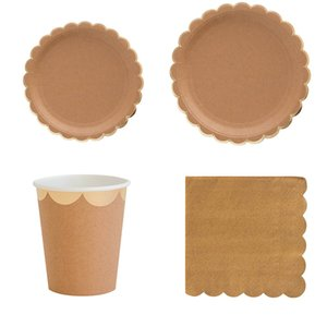 Pure Kraft Paper Disposable Tableware Set Paper Plates Cups Napkins Themed Party Wedding Carnival Birthday Supplies