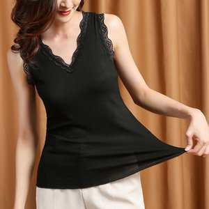 2020 New Summer Women Brief Sexy V-neck Thread Cotton Tanks Camis Tops Ladies Lace Patchwork Slim Sleeveless Plus Size Vest Y45